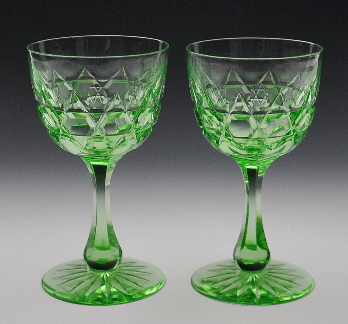 Pair of Solid Green Glass Clarets - FSG1013 Image